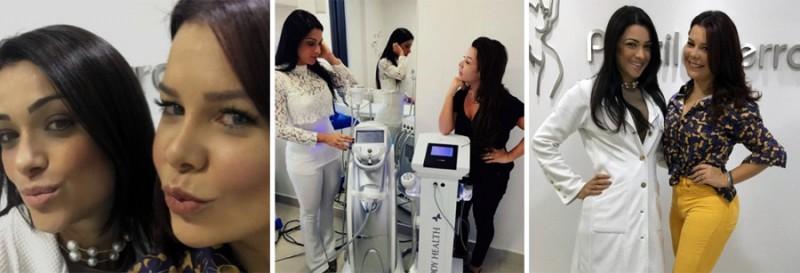 Fernanda Souza na Clínica Estética Priscila Ferrari durante tratamento com Criofrequência Body Health